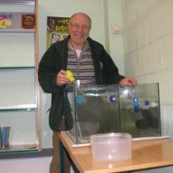 George with fish in the classroom tank