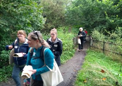 Walking down some of paths in the North Livingston blue green network along the river Almond