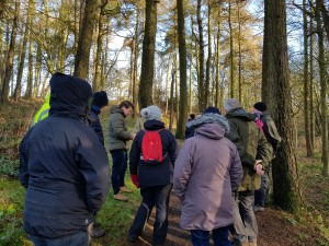 volunteers stand to listen to a talk of woodlands